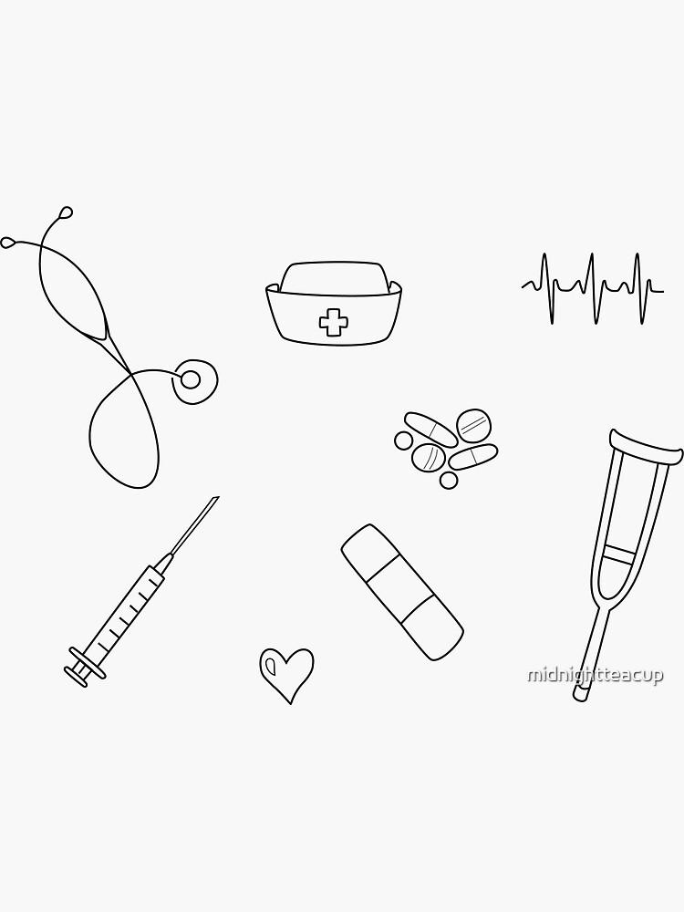 Nurse / Nursing Student Doodle Sticker Set by midnightteacup