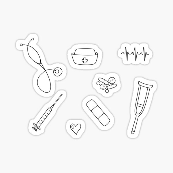 Conjunto de pegatinas Doodle de enfermera / estudiante de enfermería Pegatina
