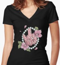 Rose and Pearl Women's Fitted V-Neck T-Shirt