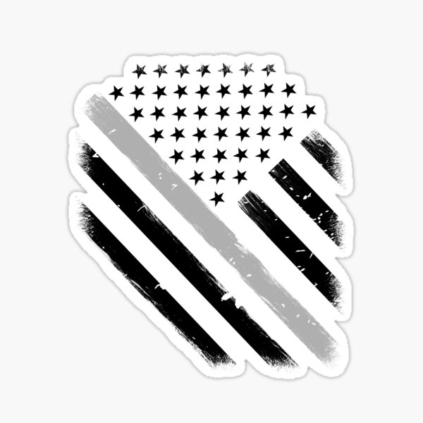 Thin Silver Line Flag Corrections Officer Sticker