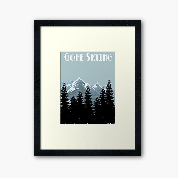 Gone Skiing Vintage Poster Framed Art Print