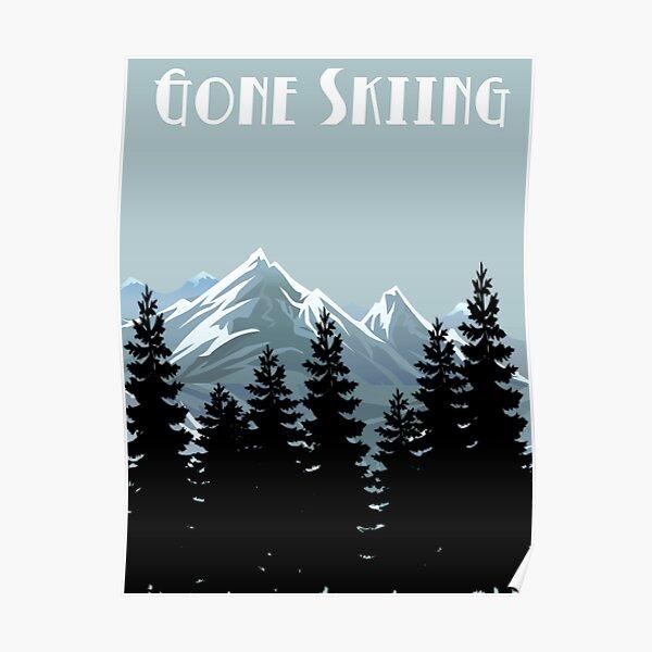 Gone Skiing Vintage Poster Poster