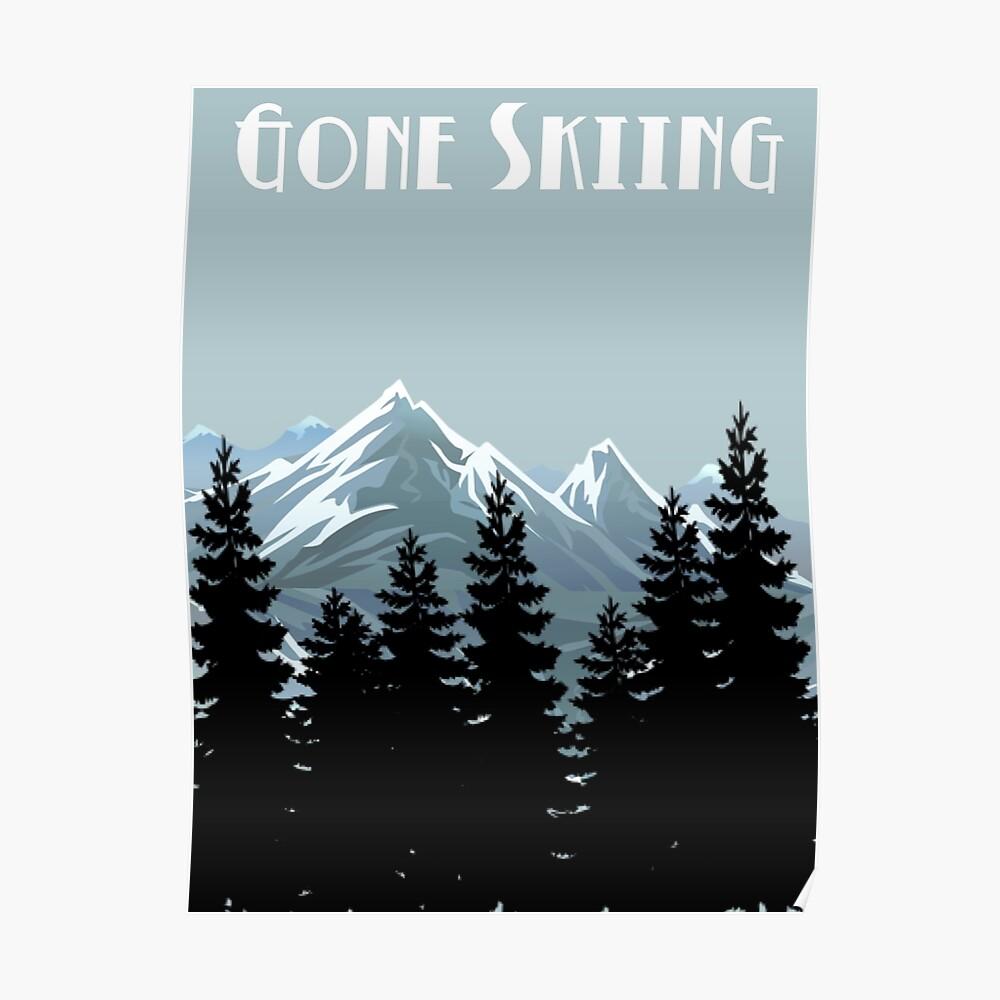 Gegangenes Skifahren-Weinlese-Plakat Poster