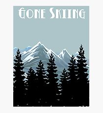 Gone Skiing Vintage Poster Photographic Print