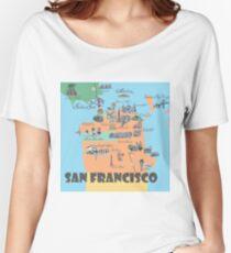 San Francisco California Highlights Maps Women's Relaxed Fit T-Shirt