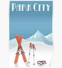 Vintage Park City Utah Ski Poster Poster