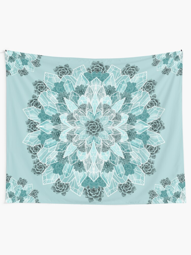 Alternate view of Crystals Succulents Mandala MINT GREEN Tapestry