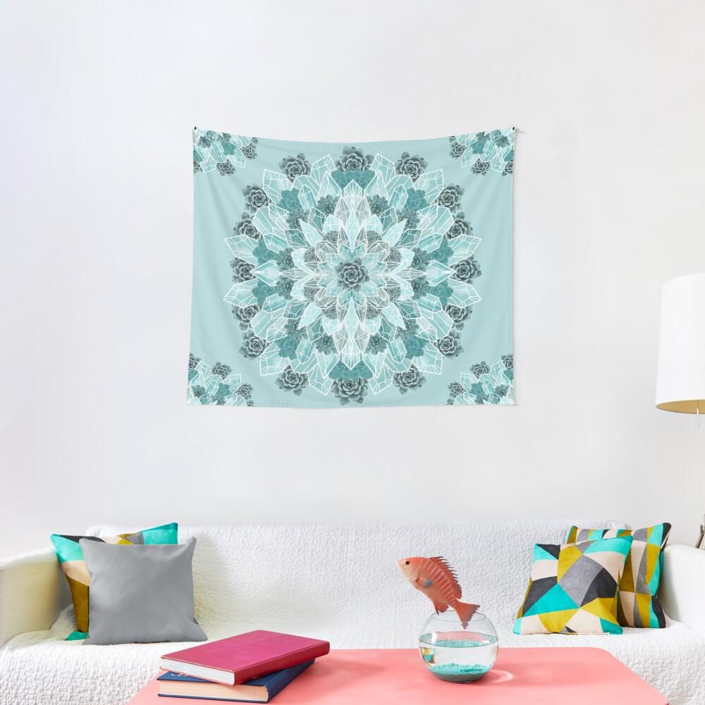 Crystals Succulents Mandala MINT GREEN Tapestry