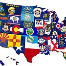 USA State Flags Map Mosaic by icoNYC