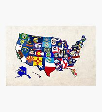 USA State Flags Map Mosaic Photographic Print