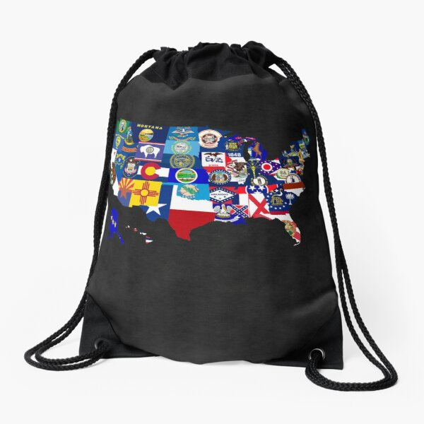 USA State Flags Map Mosaic Drawstring Bag