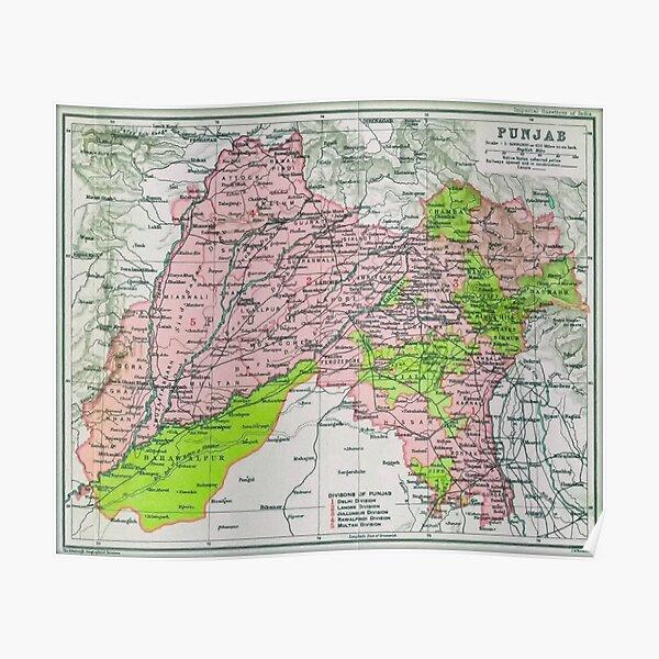 Map of Punjab, circa 1909 Poster