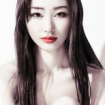 Sensual beauty portrait of young Japanese woman face with red lips art photo print by ArtNudePhotos