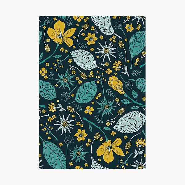 Teal & Mustard Yellow Flower Pattern Photographic Print