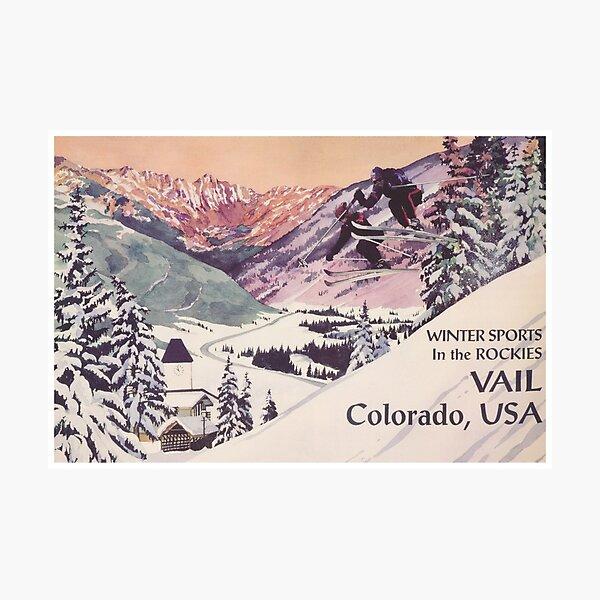 Vail Colorado Vintage Travel Poster Photographic Print