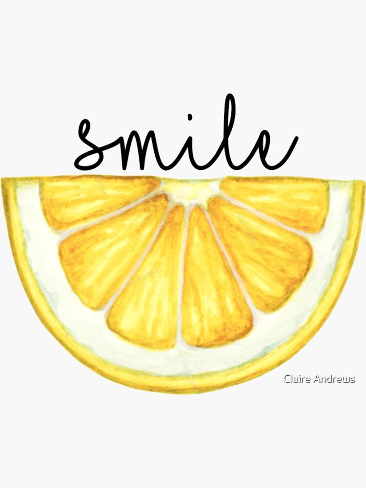 Smile Lemon Slice Watercolor by Claireandrewss