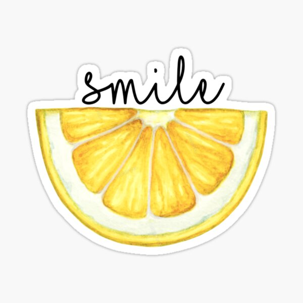 Smile Lemon Slice Watercolor Sticker