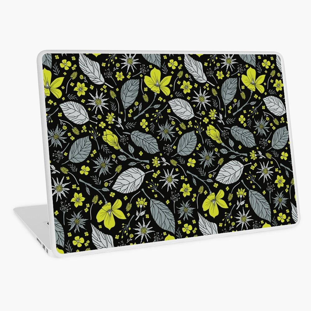 Black, Gray & Lime Green Floral/Botanical Pattern Laptop Skin