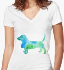 Basset Hound Silhouette  Women's Fitted V-Neck T-Shirt