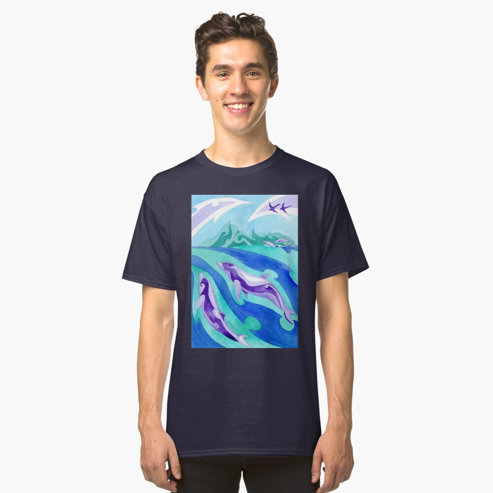 Polynesian dolphins swimming in Moorea Classic T-Shirt