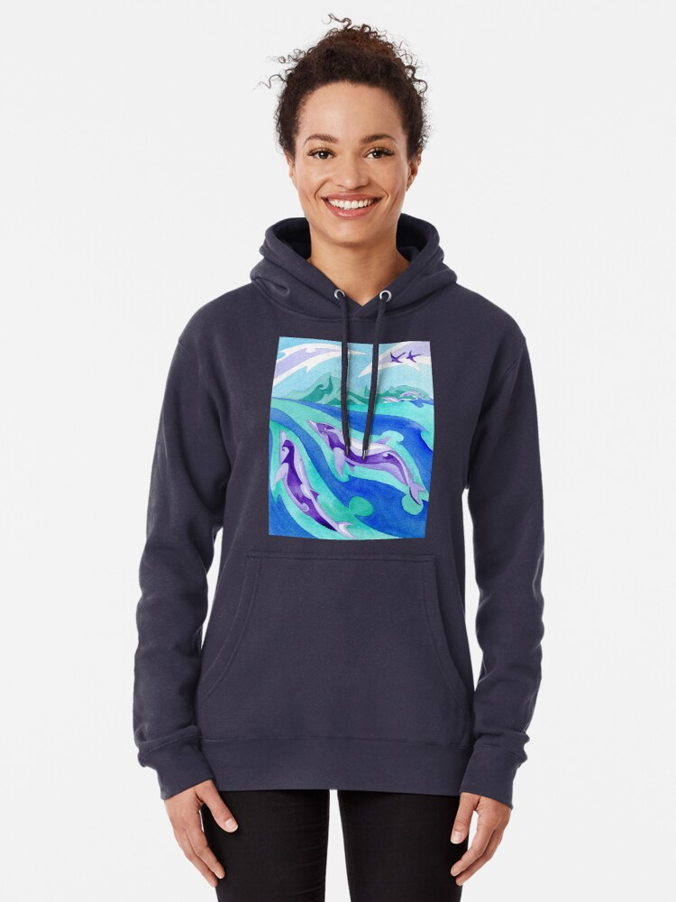 Alternate view of Polynesian dolphins swimming in Moorea Pullover Hoodie