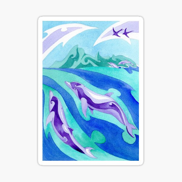 Polynesian dolphins swimming in Moorea Sticker