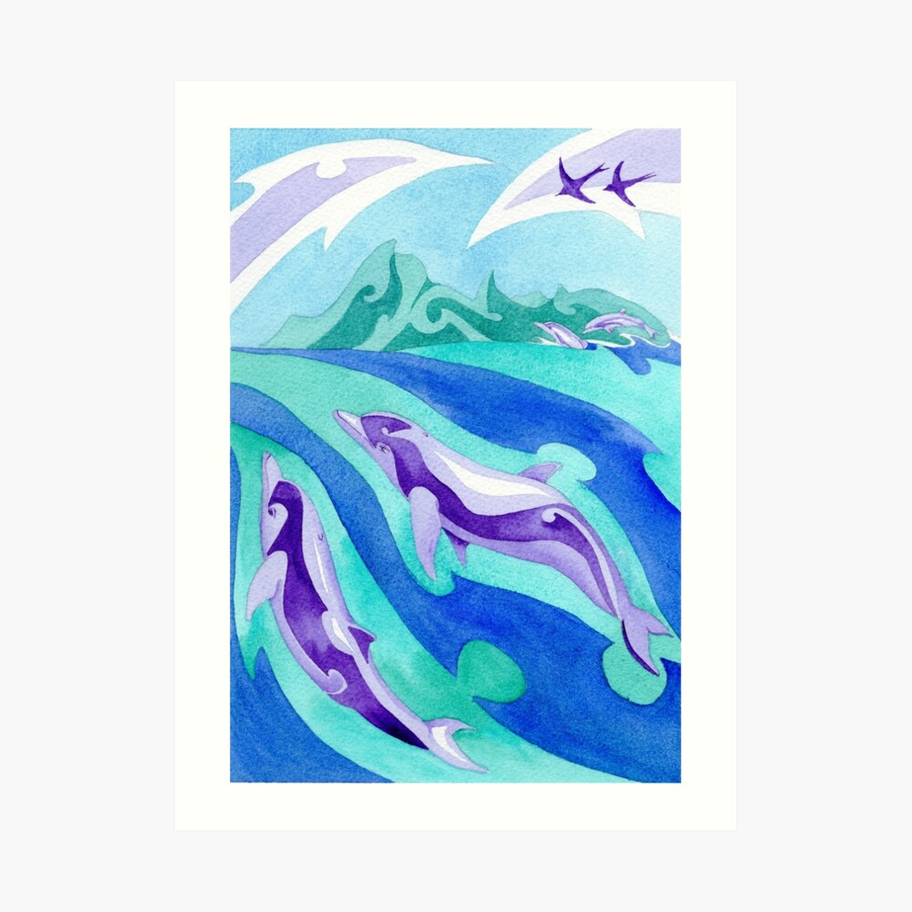 Polynesian dolphins swimming in Moorea Art Print
