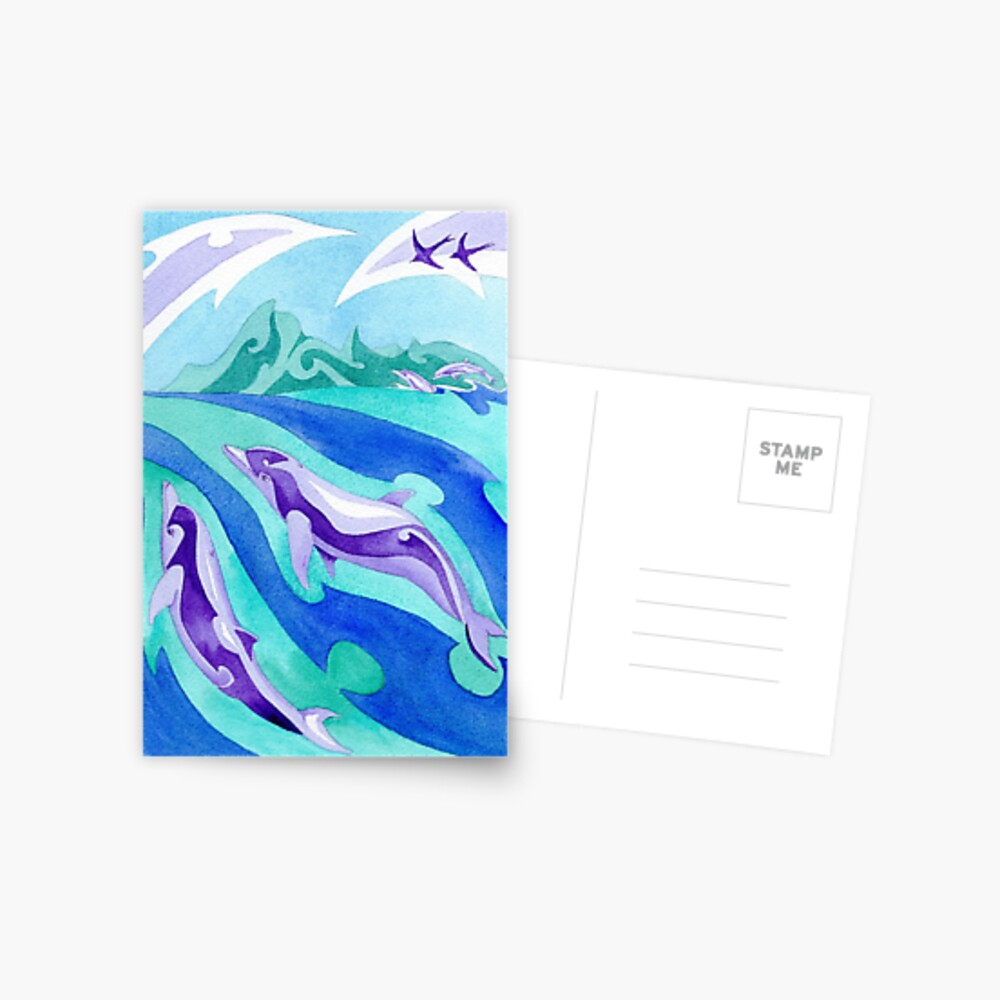Polynesian dolphins swimming in Moorea Postcard