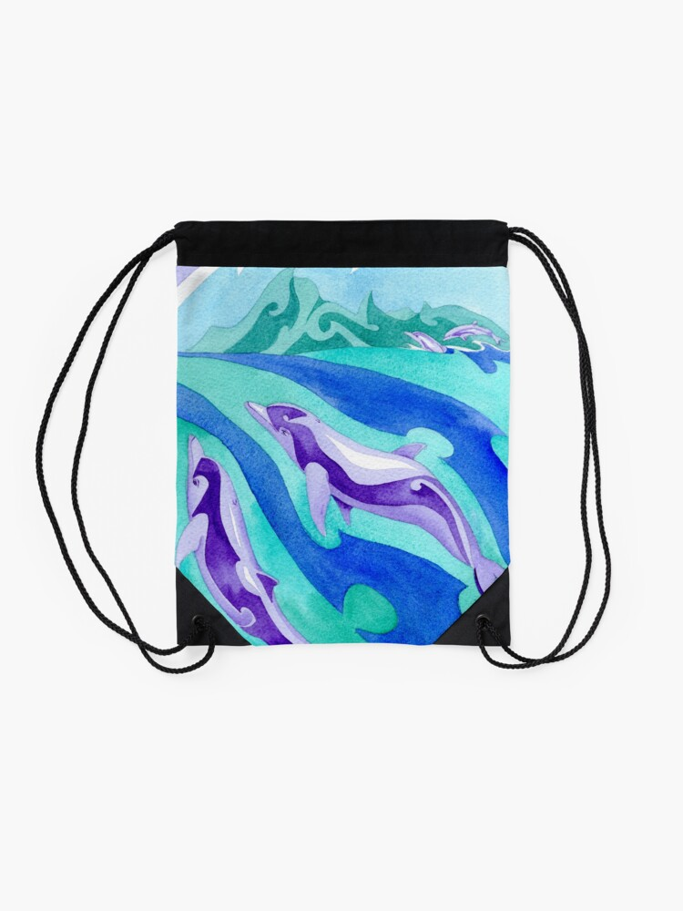 Alternate view of Polynesian dolphins swimming in Moorea Drawstring Bag