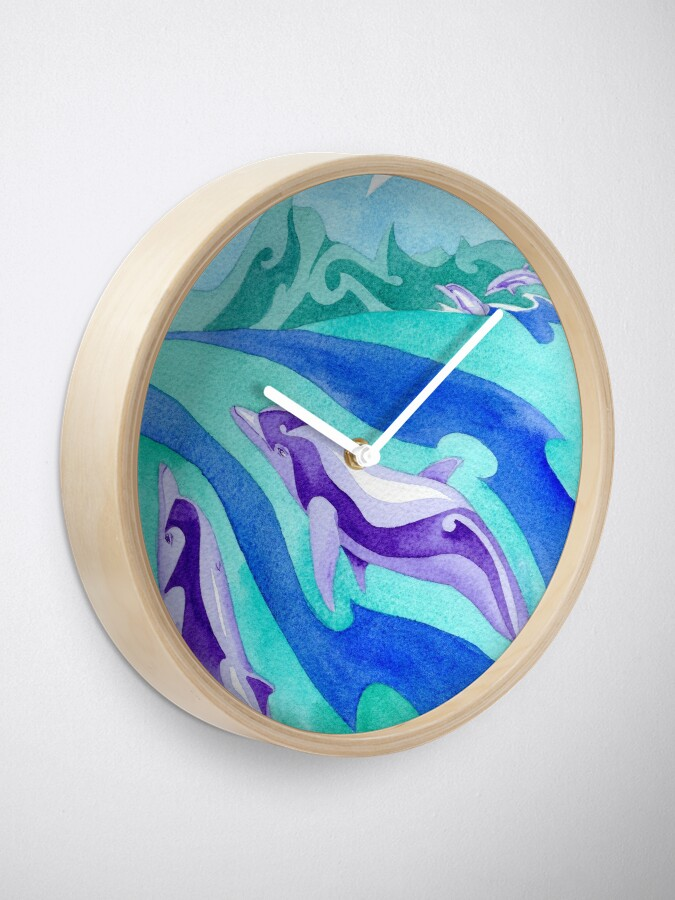 Alternate view of Polynesian dolphins swimming in Moorea Clock