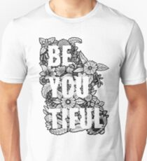 Be You Tiful Flowers Line Drawing Unisex T-Shirt