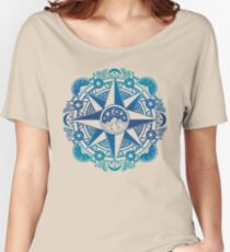 Journey to Moon Mountain | Turquoise Navy Ombré Women's Relaxed Fit T-Shirt