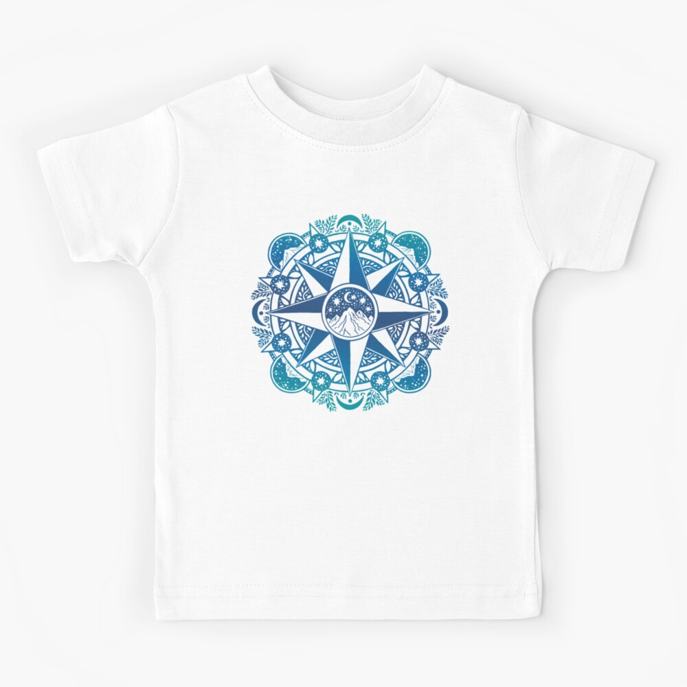 Journey to Moon Mountain | Turquoise Navy Ombré Kids T-Shirt