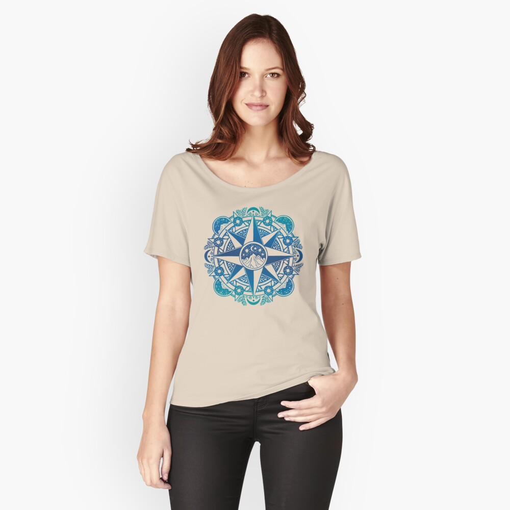 Journey to Moon Mountain   Turquoise Navy Ombré Relaxed Fit T-Shirt