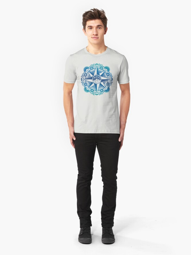 Alternate view of Journey to Moon Mountain | Turquoise Navy Ombré Slim Fit T-Shirt