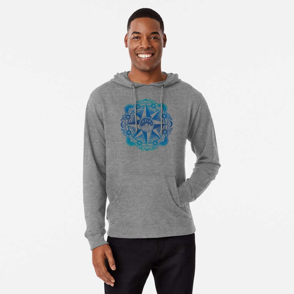 Journey to Moon Mountain | Turquoise Navy Ombré Lightweight Hoodie
