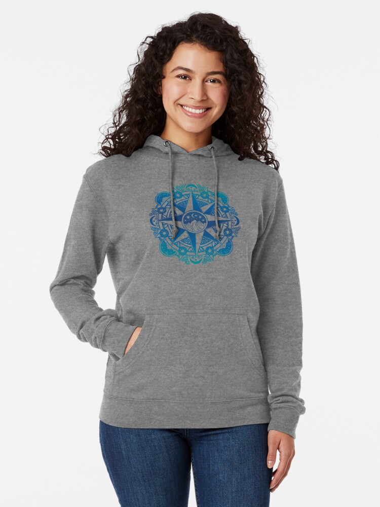 Alternate view of Journey to Moon Mountain | Turquoise Navy Ombré Lightweight Hoodie