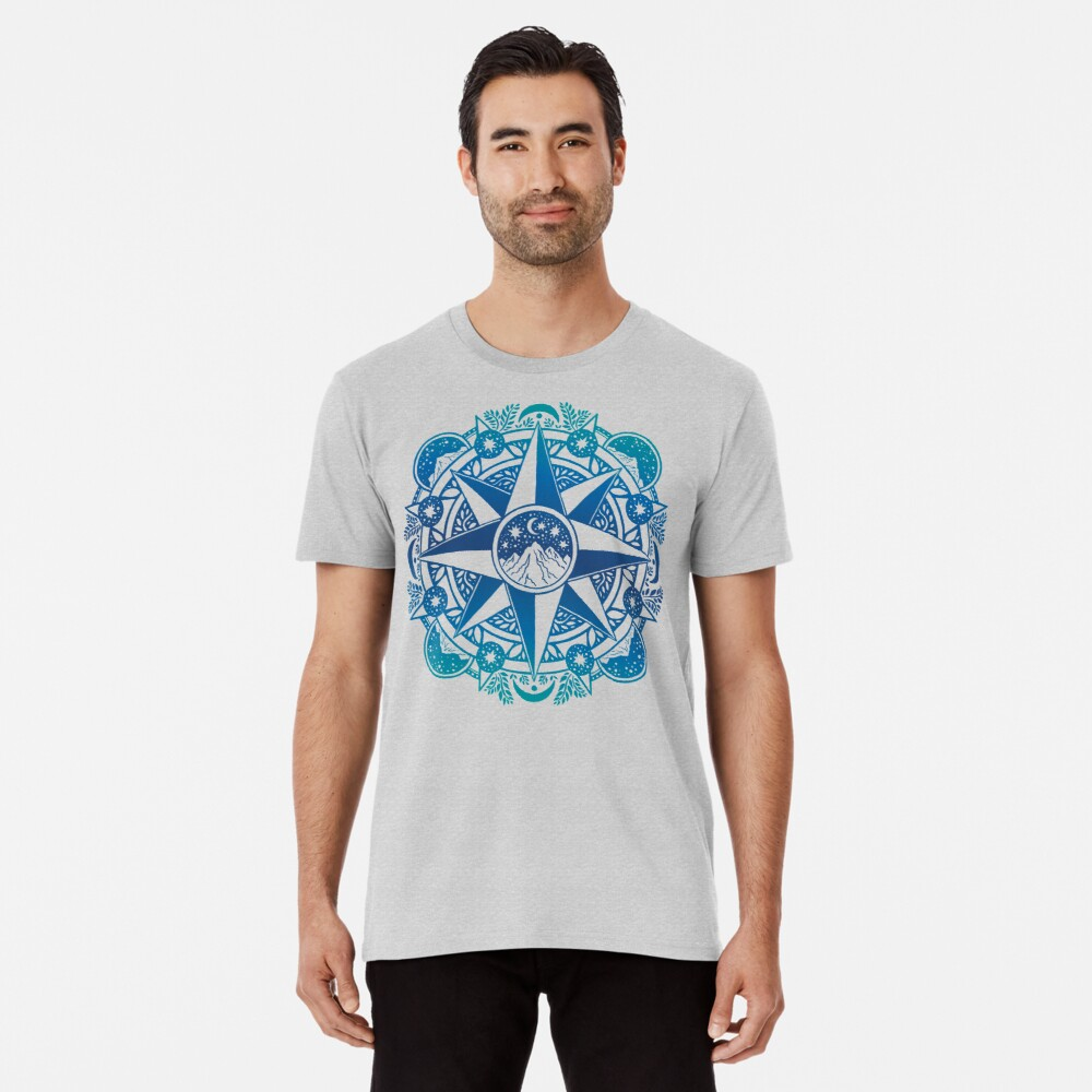 Journey to Moon Mountain | Turquoise Navy Ombré Premium T-Shirt