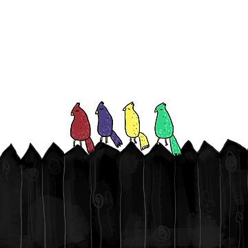 Birds on a fence - digital illustration by isabelrb