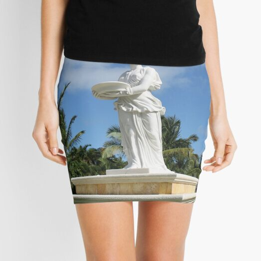 Statue, young girl, ancient classical style, basket, her hands Mini Skirt