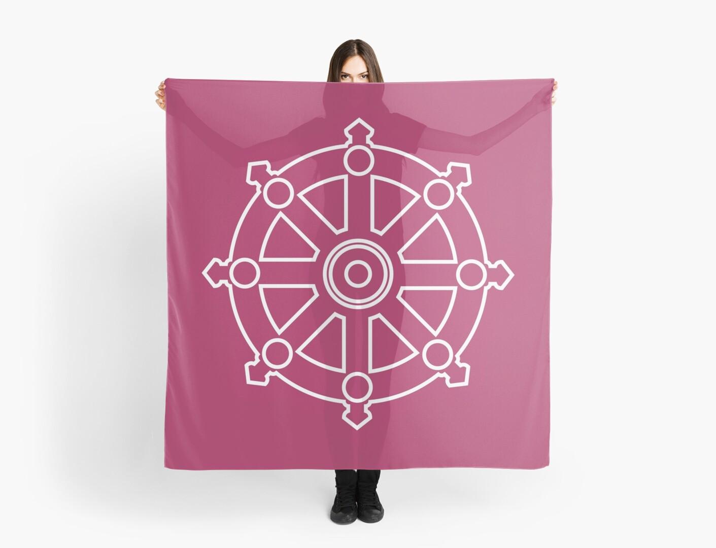dhamma wheel dharmachakra scarves by iopan redbubble