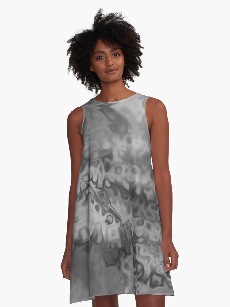 Blur of Black & White A-Line Dress Front