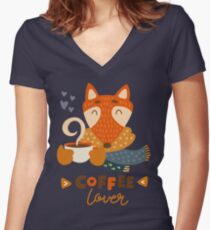 Fox in scarf | Coffee lover Women's Fitted V-Neck T-Shirt