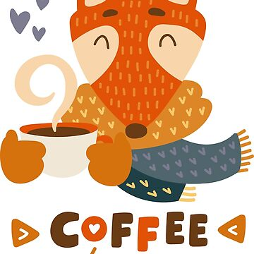 Fox in scarf | Coffee lover by 2shoes4blues