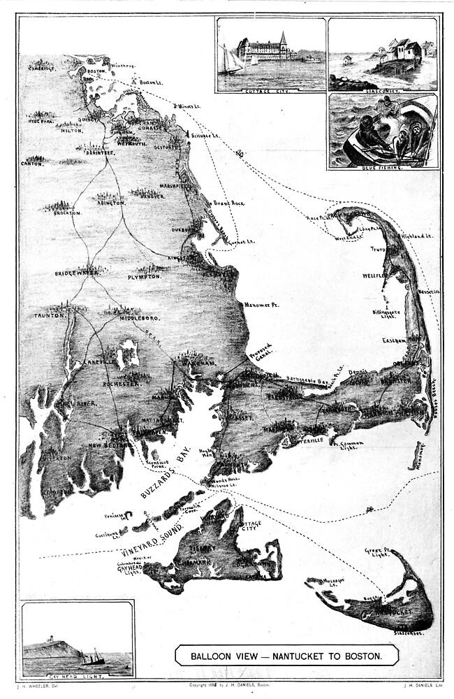 Vintage Map of Cape Cod (1885) BW  by BravuraMedia