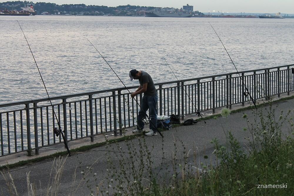 Fisherman, fishing rods,  catching fish, river bank by znamenski