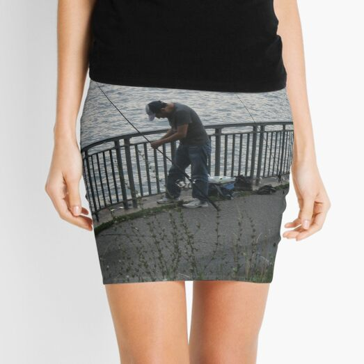 Fisherman, fishing rods,  catching fish, river bank Mini Skirt