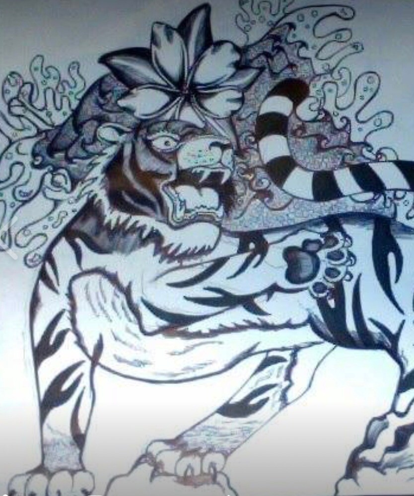 Tiger and Plumeria  by Inkythinktwice