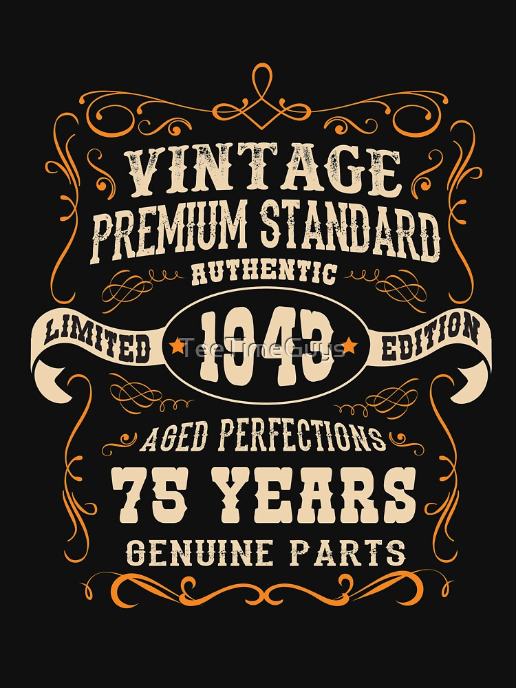 vintage 75th birthday antique made in 1943 unisex t shirt by