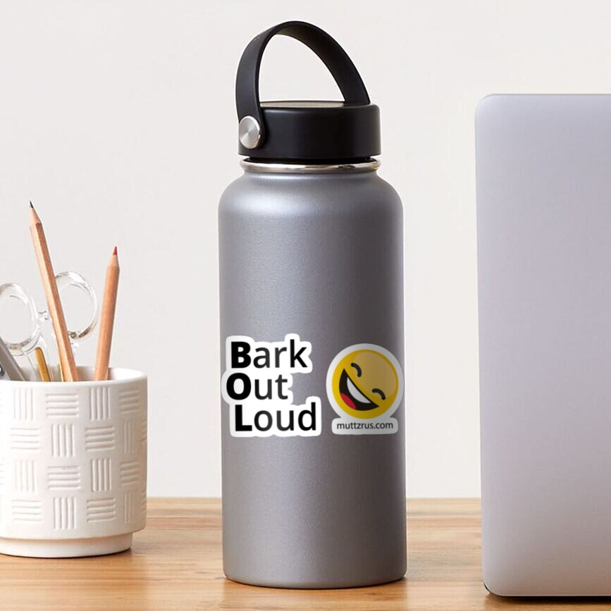 Bark Out Loud (Black Text)(Yellow Smiley Face) Sticker